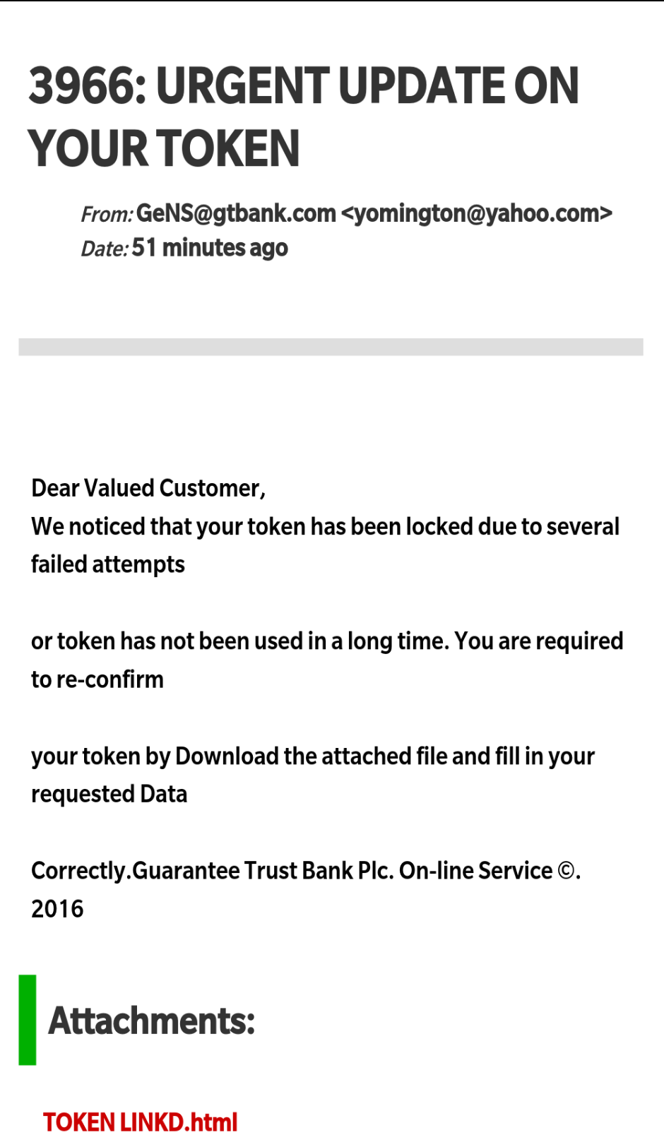 GTBank Scam Email