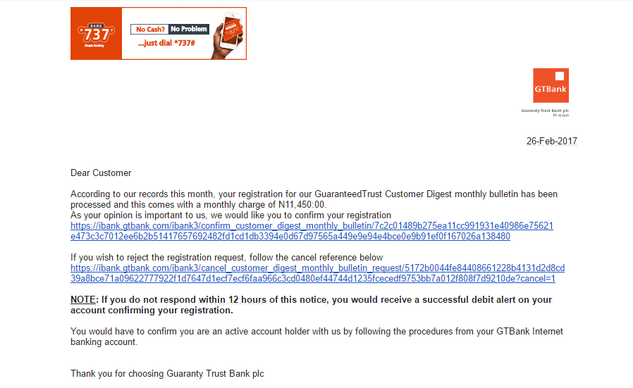 Scam Alert: Here is a New 'GTBank' Scam That Many Have