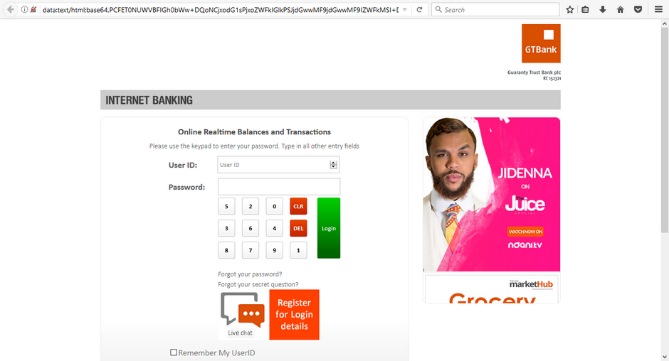 GTBank Phisher Login